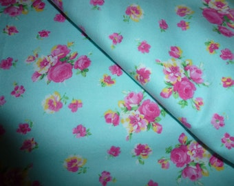 One Yard and 22 Inches of Cotton Flannel Fabric with Roses