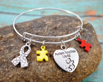 Bangle Bracelet ~ Autism Awareness Themed Bangle Bracelet ~ Mom Jewelry ~ Themed Bracelet ~ Autism Awareness