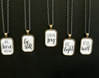Handlettered pendant - choose one