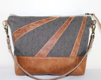 Herringbone Tweet Sunburst Zipper Clutch mini Shoulder BAg