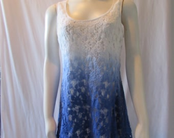 Crocheted  dress /tunic  top blue and white Summer fresh