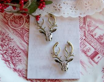 Metal Deer Charms, Embellishments, Deer and Antlers, Metal Deer, Scrapbook Accents, Paper Craft Accents, Craft Deer Set, Nature Accents