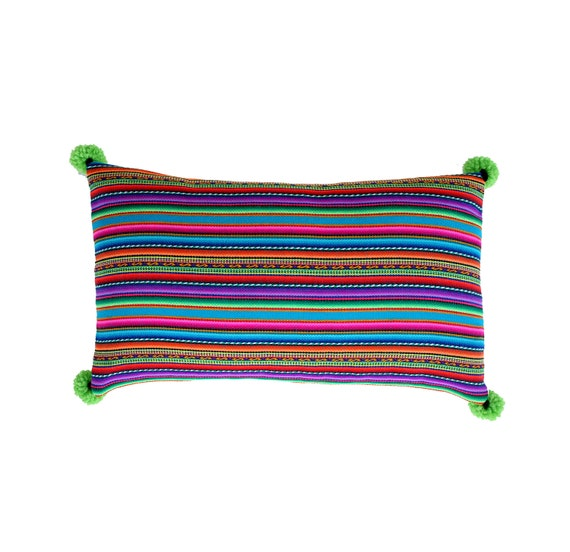 Pillow COVER,  Peruvian textile, multi-striped, blues, green, rectangular, pom poms