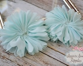 Aqua Ballerina chiffon Flowers- Set of 2 DIY fabric flowers, wholesale flowers, chiffon flowers, supply flowers,headband supply