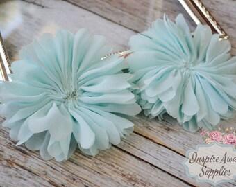 Aqua Ballerina chiffon Flowers- Set of 2 DIY fabric flowers, wholesale flowers, chiffon flowers, supply flowers,headband supply