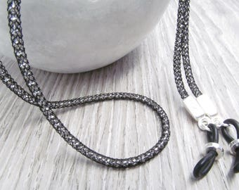 Black and Silver Mesh Glasses Chain; Spectacles Chain; Silversilk; Glasses Leash; Reading Glasses Holder Necklace; Glasses Cord; for men