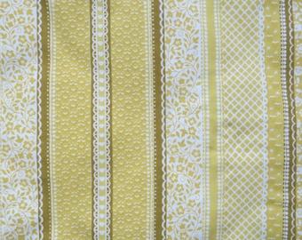 Vintage Sheet Fabric Fat Quarter - Yellow Lace Stripe