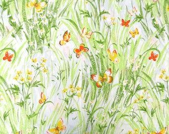 Half Yard of Vintage Sheet Fabric - Orange and Yellow Butterflies