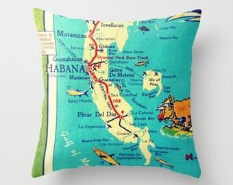 Havana Map Pillow Cover, Cuba Map Pillow, Havana Nights, Matanzas Cuba Illustrated Map Havana Pillow Cuba Pillow Aqua Home Decor made in USA