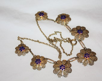 Art Deco Filigree Flower Enamel Necklace 1930s Jewelry
