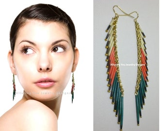 Porcupine Quill Earrings, Coral Teal White, Porcupine Quill Tassel Earrings, Porcupine  Earrings, Dangle Earrings, Taxidermy Earrings