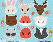 INSTANT DOWNLOAD - Woodland Animal Face Clipart and Vectors