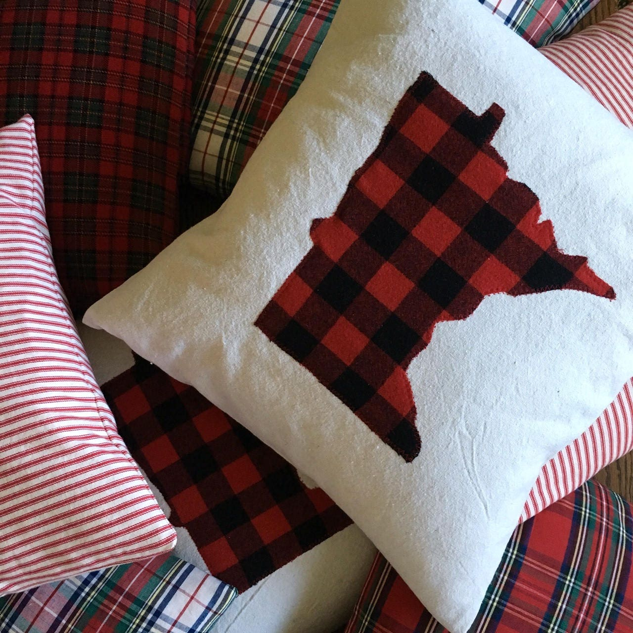 Red Plaid Carolers 18: 18 X 18 Minnesota Pillow In Red And Black Buffalo Plaid With