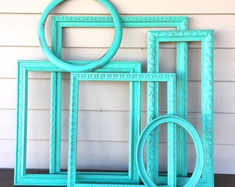Turquoise Green Open Frame Gallery - 6 Large & ExLarge Empty Frames - Kid's Art Wall