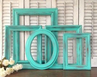 Turquoise Green Wood Frame Gallery - 5 Pc Empty Frame Wall Decor - Vintage Wooden Frames