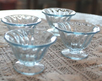 Delicate Light Blue Nut Dishes, set of four