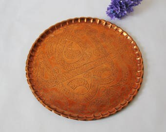 SALE - Vintage Copper Tray - Round Vintage Etched Copper Tray with Scalloped Edged - Boho Chic - Hollywood Glamour