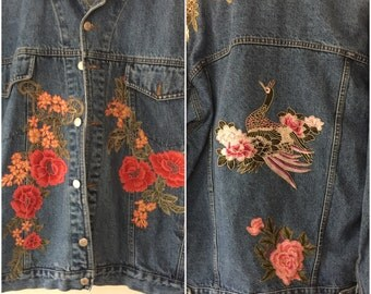 Made to Order RitaNoTiara vintage customised Levis jacket all sizes Embroidery patch patch roses floral denim peacock mid west prairie boho