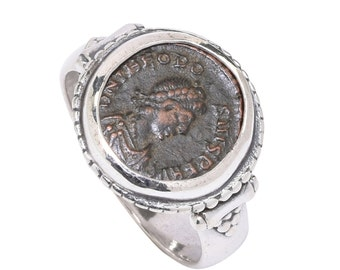 sterling silver ring, coin ring, men's fashion ring, women's fashion ring, coin jewelry, roman coin ring, old coin ring, antique coin ring