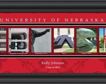 PERSONALIZED & FRAMED NCAA Nebraska Cornhuskers Letter Art Sports Prints