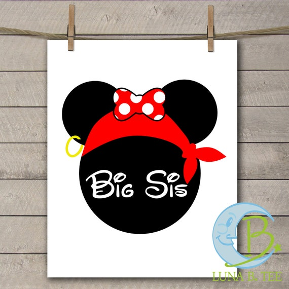 INSTANT DOWNLOAD Disney Family Vacation Cruise Pirate Night Big Sis Sister Shirts Digital Printable DIY Iron On to Tee T-Shirt Transfer