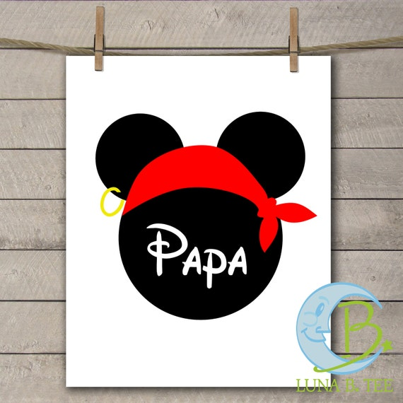 INSTANT DOWNLOAD Disney Family Vacation Cruise Pirate Night Papa Grandpa Shirts Digital Printable DIY Iron On to Tee T-Shirt Transfer