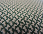Vintage double knit polyester fabric green and white small print 1 yard 19 inches 63 inches wide