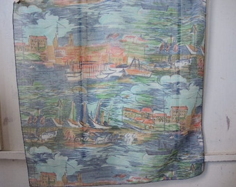 Vintage 1960s sheer poly cotton scarf painted seascape design 22 x 22 inches