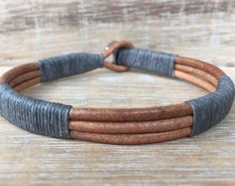 Men's Leather Wrap Bracelet, Men's Gray Bracelet, Men's Jewelry, Men's Gift, Stainless Steel Bracelet, Husband Gift, Unisex Bracelet