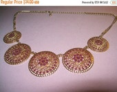 SALE 60% Off goldtone Statement bead necklace, bib necklace, bead necklace