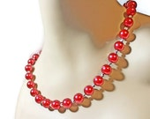 Stunning Red Pearl Necklace, Chunky Beaded Necklace, Candy Apple Red Pearls