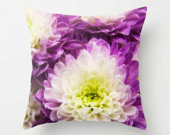 Purple & White Mums, Photo Throw Pillow, Photo Pillow, Throw Pillow, Flower Pillow, Botanical Pillow, Flower Photogaphy, Photography