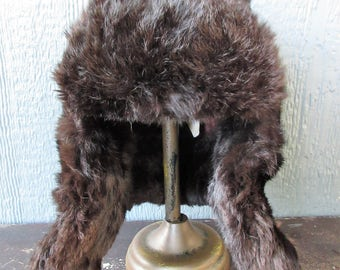 SALE....Russian Fur Hat/1950's Russian Mink Hat/Russian Military Trapper Hat/Mad Bomber Hat
