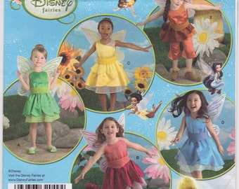 """FF 2008 Size 3-8 Girl's Tinkerbell and Disney Fairy Costumes Halloween Sewing Pattern [Simplicity 2872] Chest 22-27"""", UNCUT"""