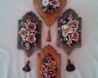 Heygill of Italy Porcelain Flowers on Velvet background wall hanging's