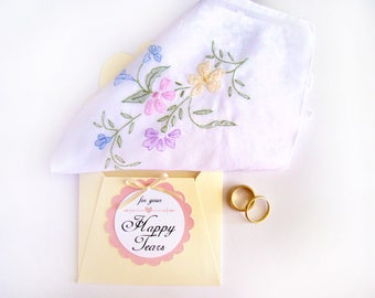 Happy Tears Wedding Hanky Vintage Handkerchief  White Pink Embroidered Mother of Bride Mother of Groom Gift Something Old Maid of Honor Gift