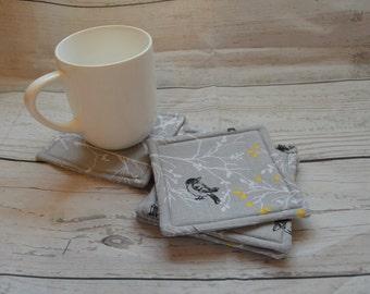Fabric Coasters , Set of 4 , Gray Yellow White , Birds Nature , Hostess Housewarming Gift , Entertaining