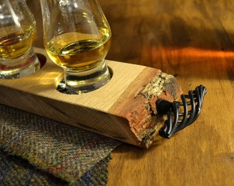 Oak Whisky Tray with wrought iron effect handles and waney edge