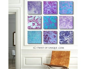 Abstract sunset painting / ORIGINAL painting/ 9 painting set / 45x45 / Abstract wall art/ watercolor painting/ Purple, green, blue, white