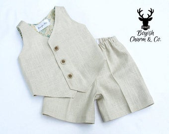 The Avery Boys Linen Suit,  Boys Natural Linen Suit, Vest and Shorts, Ring Bearer Outfit, Baptism Outfit, White, Natural, Brown