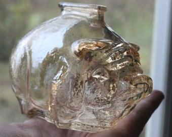 Vintage Anchor Hocking Piggy Bank PEACH Iridescent Glass, Carnival Glass bank