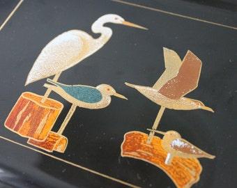 2 Vintage Otagiri Black Lacquer with GOLD Beach Bird Decoys small tray Appetizer Plate, Sushi, Beach decor, Beach trays, Egret, Seagull