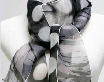 Polka Dot Silk Scarf in Black and White Narrow Scarf