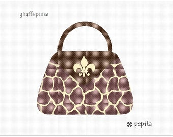 Needlepoint Kit or Canvas: Giraffe Purse