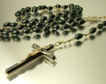Antique vintage Italian metal and dark wood, Catholic / Christian/ cross, rosary necklace - jewelry jewellery