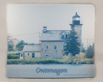 Mousepad, Lake Superior Michigan Lighthouse  Design, Office Décor, Photograph, Artistic, Office Accessory