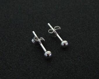 3 mm. 925 Sterling Silver Ball Stud Earrings