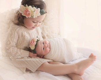 Floral Crown Set - newborn crown and toddler / child crown set, Photo Prop, beautiful, photography prop - Grace