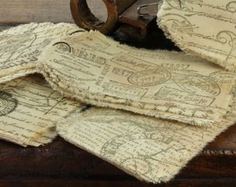 Scribe  - Muslin Tags Vintage Inspired Hand-Stamped Tea Dyed and Frayed Muslin Tags - Junk Journal - Mixed Media - Tea Stained Muslin Tags