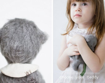 Mohair Teddy Bear Stuffed Animal Embroidered Collar Plush Toy Handmade Soft Sculpture 7 Inches Easter Gift For Her FREE Shipping
